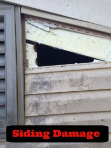 Siding damage caused by a raccoon